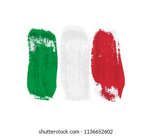 Italian flag made of brush strokes. Vector grunge flag of Italy isolated on white background.