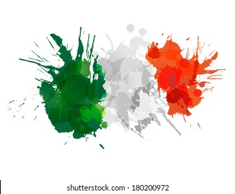 Italian  flag made of colorful splashes