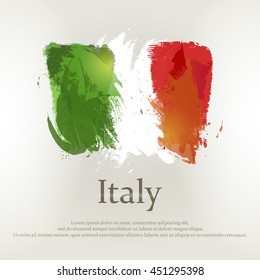 Italian flag painted abstract colorful brush strokes - vector illustration