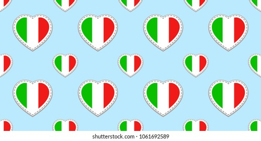 Italian flag seamless pattern. Vector Italy flags stickers. Love hearts symbols. Language courses, sports pages, travel, school geographic, cartographic elements. Patriotic design. Vector illustration