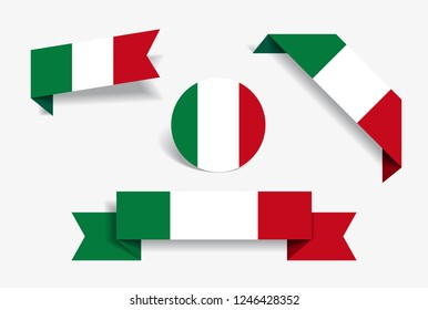 Italian flag stickers and labels set. Vector illustration.