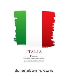 Italian flag. Italian translation of the inscription: Italy. Second of June. Italian Republic Holiday