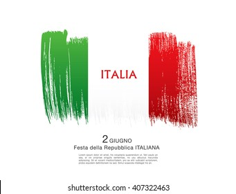 Italian flag. Italian translation of the inscription: Italy. Second of June. Italian Republic Holiday