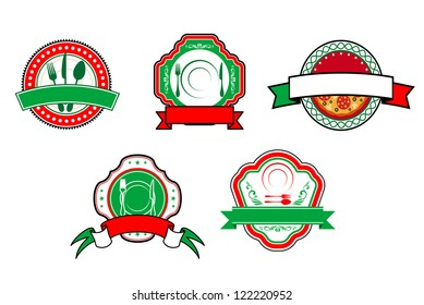 Italian food banners and labels for cafe and restaurant design, such a logo template. Jpeg version also available in gallery