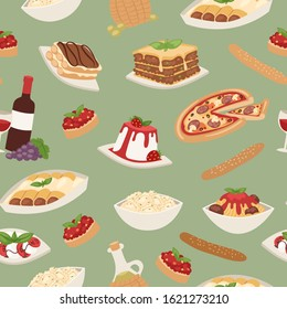 Italian food with cooking pizza, lunch pasta, spaghetti and cheese, desserts and wine seamless pattern vector illustration. Italian food cuisine restaurant background.