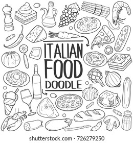 Italian Food Cousin Traditional Doodle Icons Sketch Hand Made Design Vector
