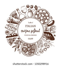 Italian food and drinks art. Vintage Pizza illustration.  Engraved style design with vector drawing for logo, icon, label, packaging, poster. Festival menu template.