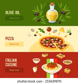 Italian food horizontal banner set with olive oil pizza cuisine elements isolated vector illustration