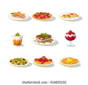 Italian Food Icon Set Detailed Flat Vector Design Set On White Background