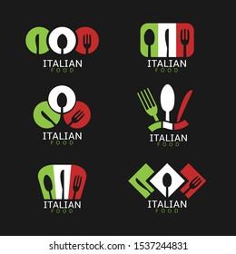 Italian food icons. Italian flag symbols Spoon fork and knife icons