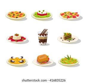 Italian Food Illustration Detailed Flat Vector Design Set On White Background