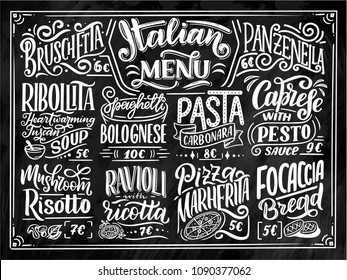 Italian food menu - names of dishes. Lettering phrases for your design, stylized drawing with chalk. Vector illustration