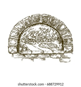 Italian food. Pizza in firewood oven. Engraving. Vintage style. Vector illustration.