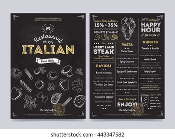 Italian food restaurant menu design template on chalkboard background