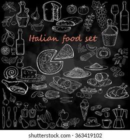 Italian food set. Hand drawn vector illustration. Pizza set. Vintage. Sketch. Chalkboard background.