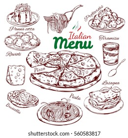 Italian food sketch collection with national traditional dishes meals and desserts isolated vector illustration