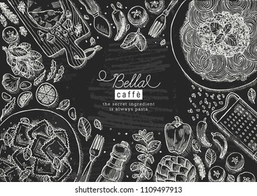 Italian food top view chalkboard illustration. Spagetti and ravioli table background. Engraved style illustration. Hero image. Vector illustration