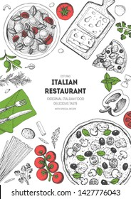 Italian food top view menu template. A set of Italian dishes with pasta and pizza. Food menu design template. Vintage hand drawn sketch vector illustration. Engraved image