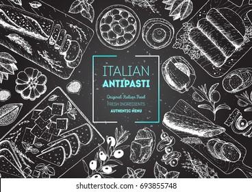 Italian food top view. A set of Italian Antipasti. Food menu design template. Vintage hand drawn sketch vector illustration. Engraved image