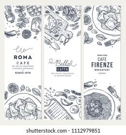 Italian food vertical banner set. Spagetti and ravioli. Engraved style illustration. Hero image. Vector illustration