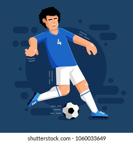 Italian football player with ball in white blue uniform. Flat illustration.