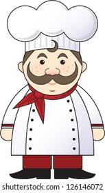 Italian or French chef with a mustache wearing a chef coat and red bandana and chef hat.