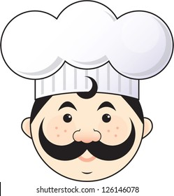 Italian or French chef with a mustache wearing a chef hat.