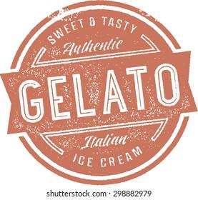 Italian Gelato Ice Cream Stamp Sign