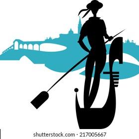 Italian gondolier. Vector illustration