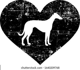 Italian Greyhound silhouette in black heart