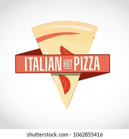 Italian hot pizza icon sign. Ribbon sign, graphic design. isolated over a white background
