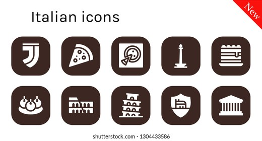 italian icon set. 10 filled italian icons.  Collection Of - Juventus, Pizza, Monas, Tiramisu, Bitterballen, Colosseum, Pisa, Roma, Pantheon