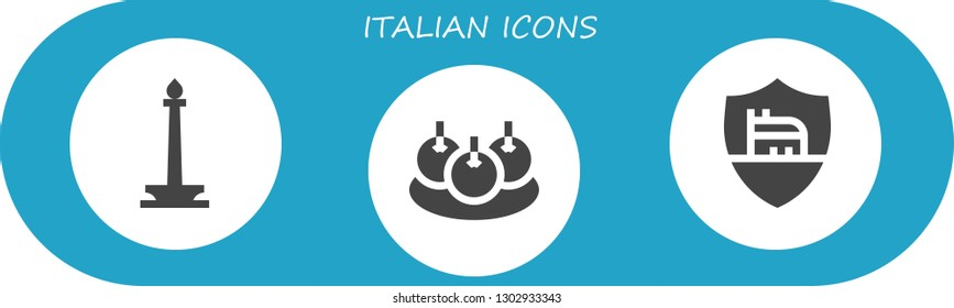 italian icon set. 3 filled italian icons.  Simple modern icons about  - Monas, Bitterballen, Roma