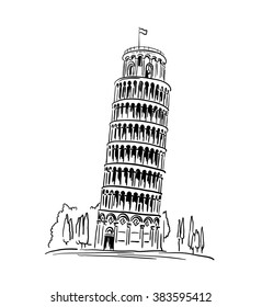Italian landmark Piza Tower , Italy. Vector illustration, travel concept