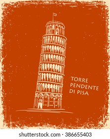 Italian landmark Piza Tower, Italy. Black silhouette Pisa hand drawn vector illustration in the style of ancient vase painting background. Italian famous building hand drawn, travel concept