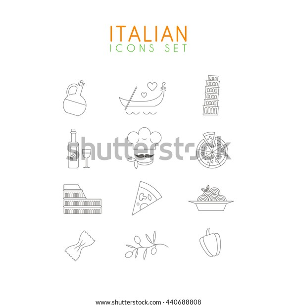 Italian line icons set. Collection of minimalistic food and travel icons about Italy.