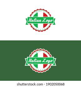Italian Logo. Vector Illustration. An emblem style logo featuring an Italian flag.
