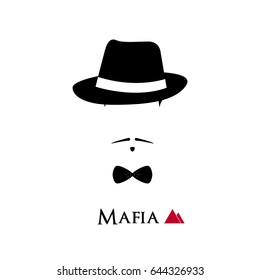 Italian Mafioso face on white background. Vector illustration.