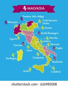 Italian Malvasia grape cultivation regions vector map