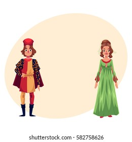Italian Man and woman in Renaissance time costumes, clothing, cartoon vector illustration with place for text. Medieval, Renaissance Italian couple in traditional historical dresses