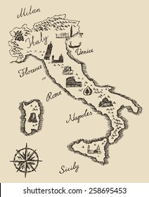 Italian map old school style, vintage retro design, engraved vector illustration, sketch
