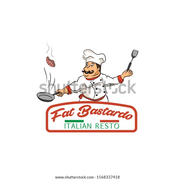 Italian Mascot Fat Chef Who Cooking Stock Vector Royalty Free 1568337418