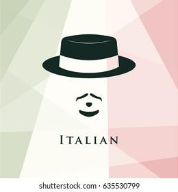 Italian men avatar. On italian flag background. Vector illustration.