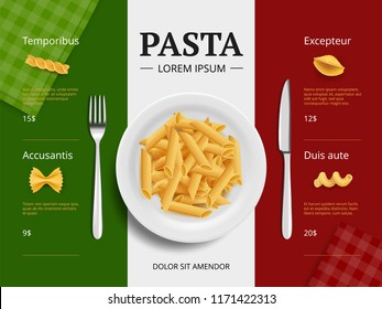 Italian menu cover. Pasta on plate delicious restaurant food macaroni spaghetti cooking ingredients vector placard template top view. Italian macaroni, restaurant menu pasta illustration