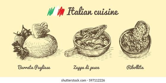 Italian menu monochrome illustration. Vector illustration of Italian cuisine.