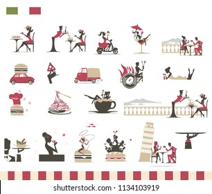 Italian Menu Restaurant - Icon Set