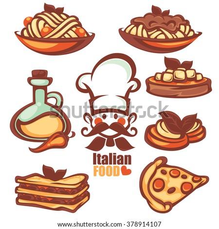 Italian Menu Vector Collection Food Symbol Stock Vector Royalty