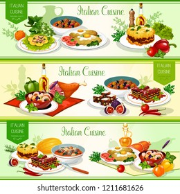 Italian national cuisine restaurant menu, vector. Lasagna pasta with tomato sauce and meat, seafood salad, beef olive stew and bean soup with cheese, dried fruit dessert and turkey milanese