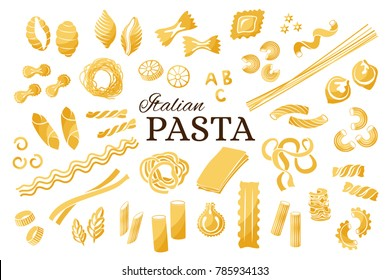 Italian pasta collection. Vector isolated decorative elements for menu or package design.