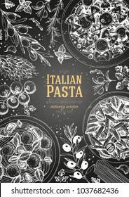 Italian pasta frame. Hand drawn vector illustration of an Italian pasta top view. Food design template. Farfalle, Penne and Spaghetti illustration. Classic italian cuisine. Engraving style